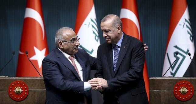 أردوغان وعبد المهدي يتفقان على ضرورة إقامة تعاون عسكري بين البلدين