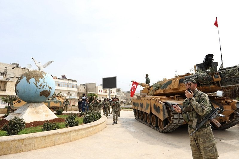 Turkish and FSA troops seen in the streets of the northwestern Syrian city of Afrin after liberating it from PKK/YPG terrorists