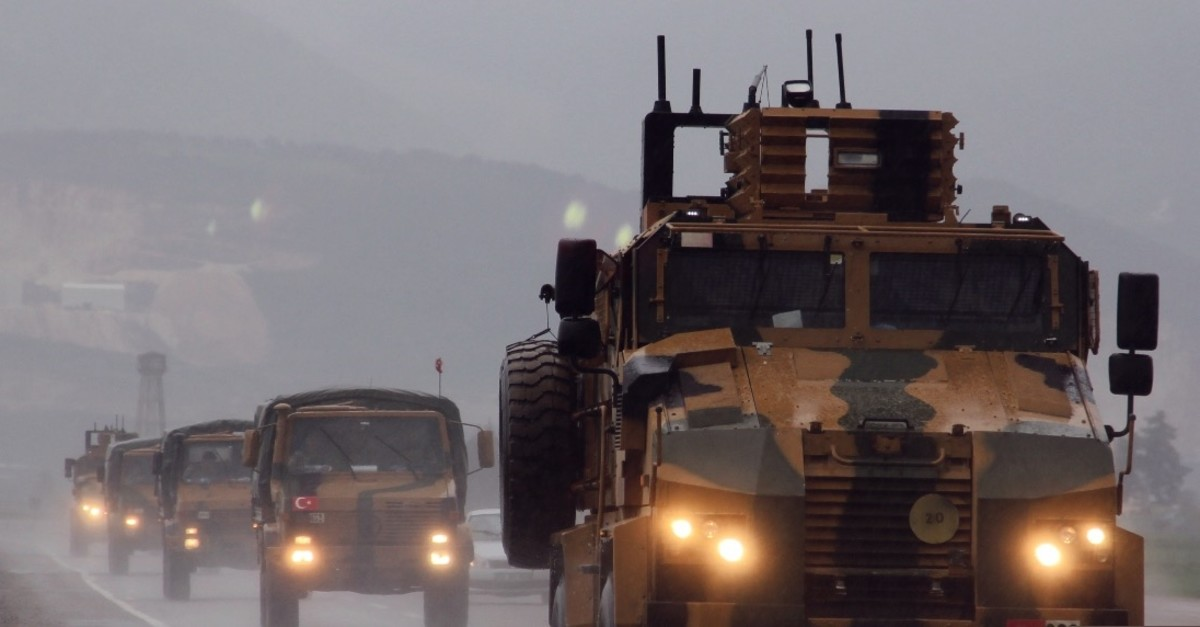 A convoy of Turkish Armed Forces military vehicles move to reinforce units on the Syrian border, March 31, 2019.