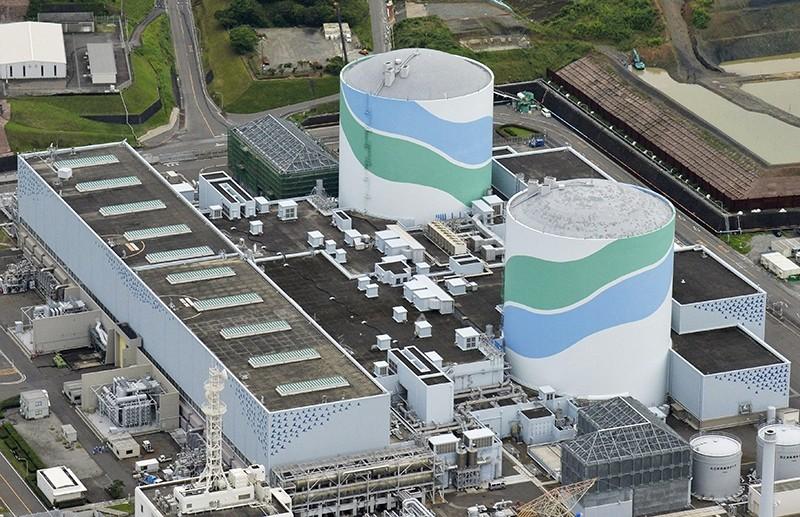 This aerial file photo taken on July 7, 2015, shows reactors of No. 1, right, and No. 2 at the Sendai Nuclear Power Station in Satsumasendai, Kagoshima prefecture, southern Japan. (Hiroko Harima/Kyodo News via AP)