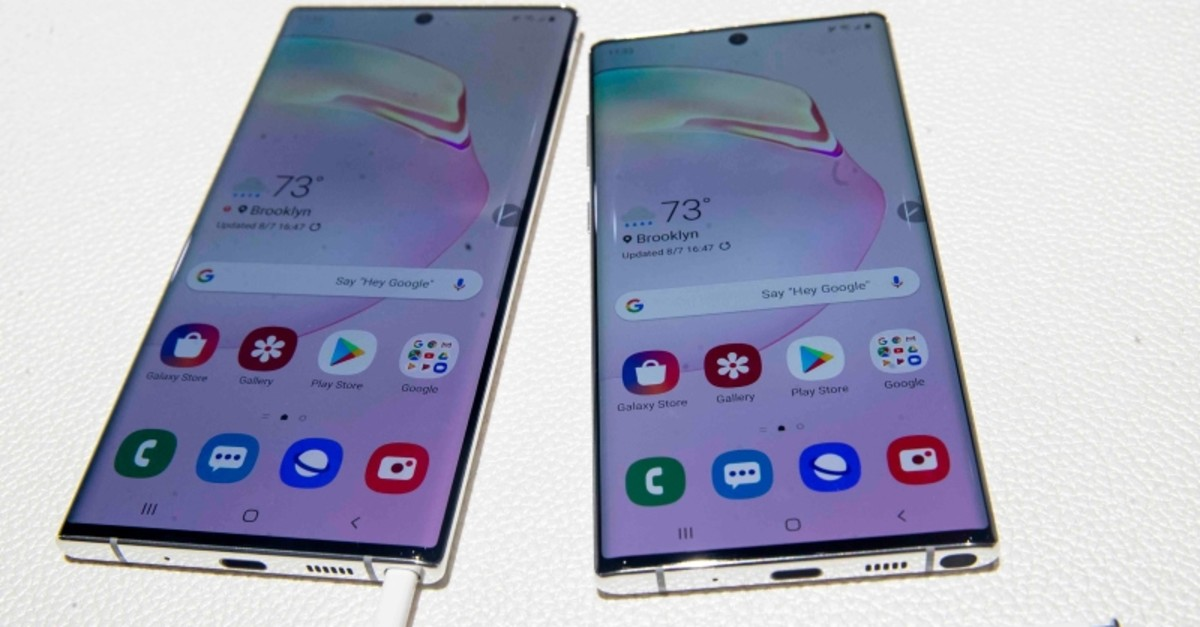 The Samsung Galaxy Note 10, right, and the Galaxy Note 10 Plus are on display during an event to launch the Samsung Galaxy Note 10, Wednesday, Aug. 7, 2019, in New York. (AP Photo)