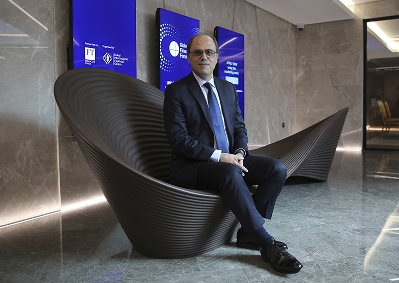 Jihad Azour, the IMF's Mideast and Central Asia director, poses before his press conference in Dubai, United Arab Emirates, Tuesday, Nov.13, 2018. (AP Photo)