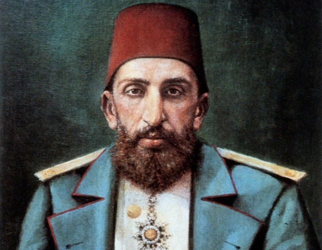 An oil painting of Abdülhamid II displayed in Topkapı Palace's portraits gallery.