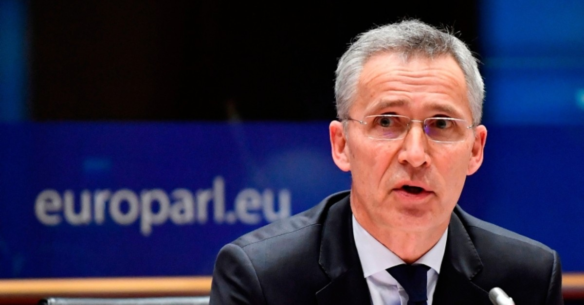 NATO Secretary General Jens Stoltenberg addresses the European Parliament Committee on Foreign Affairs (AFET) and Sub-Committee on Security and Defence (SEDE) at the EU headquarters in Brussels on January 21, 2020. (AFP Photo)
