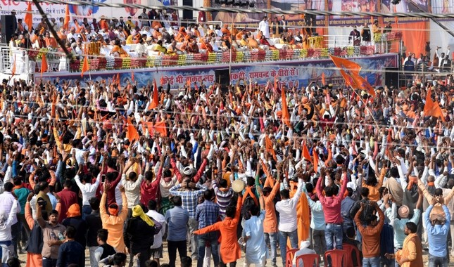 People gather to attend the 'Dharma Sabha' rally held by Vishwa Hindu Parishad (VHP), in support of the construction of Ram temple in Ayodhya, India, Nov. 25, 2018. (EPA Photo)