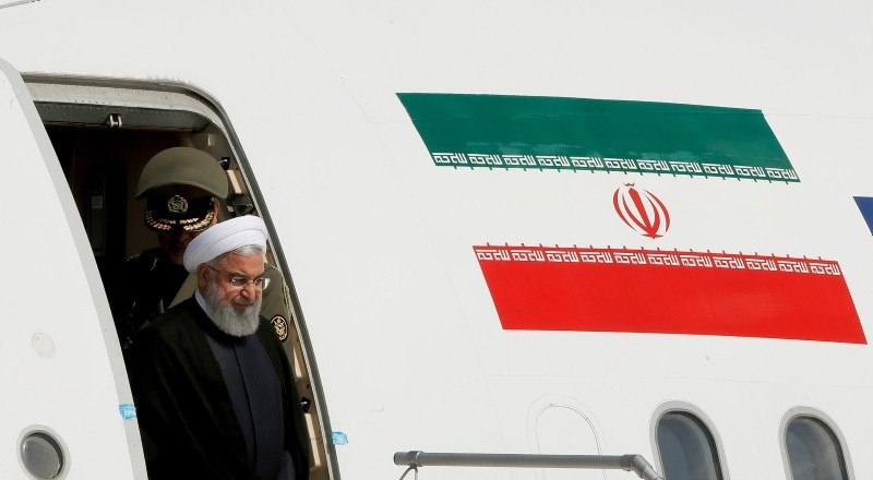 Iranian President Hassan Rouhani disembarks from a plane upon his arrival at the airport in Zurich, Switzerland, July 2, 2018. (REUTERS Photo)