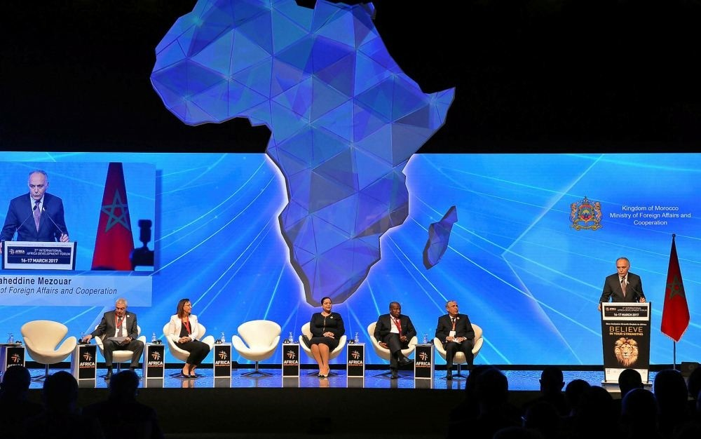Moroccan Foreign Minister Salaheddine Mezouar speaks during the opening of the 5th International Africa Development Forum (FIAD) in Casablanca, Morocco March 16.