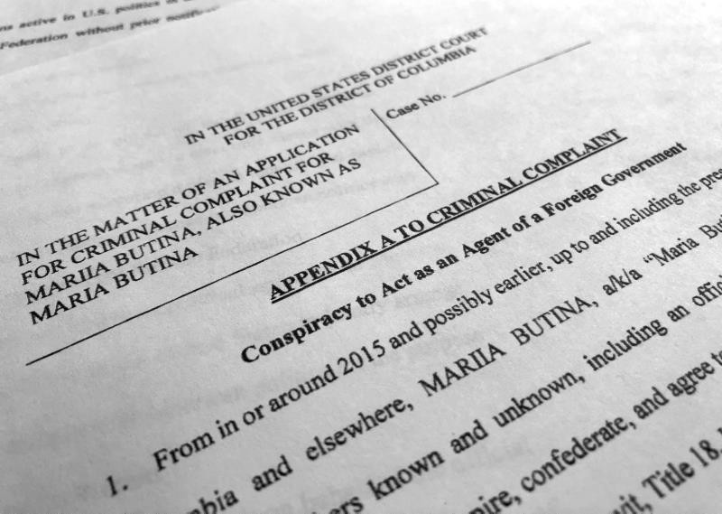 Court papers unsealed July 16, 2018, photographed in Washington, shows part of the criminal complaint against Maria Butina. She was arrested July 15, on a charge of conspiracy to act as an unregistered agent of the Russian government. (AP Photo)