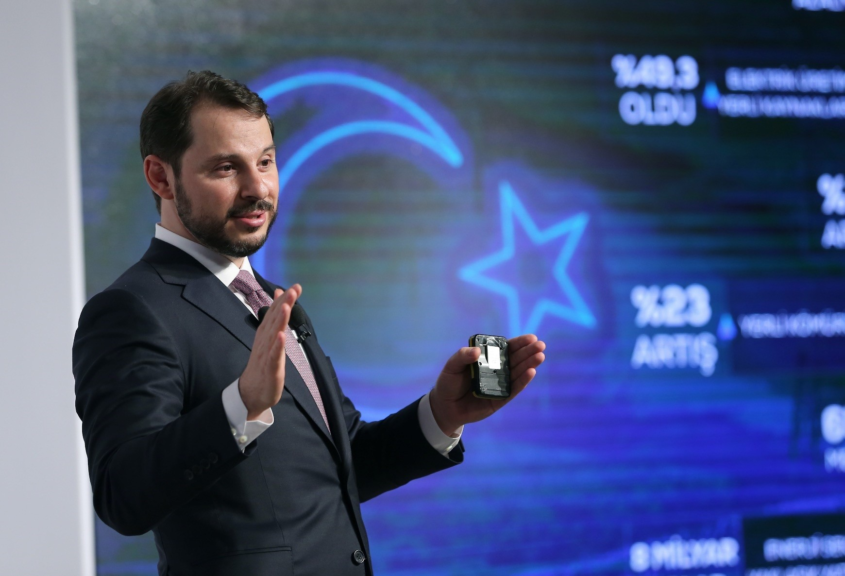 Berat Albayrak, the treasury and finance minister in the new presidential system, speaks during a meeting on the future plan of Turkeyu2019s energy policies while he was in office as the energy minister.