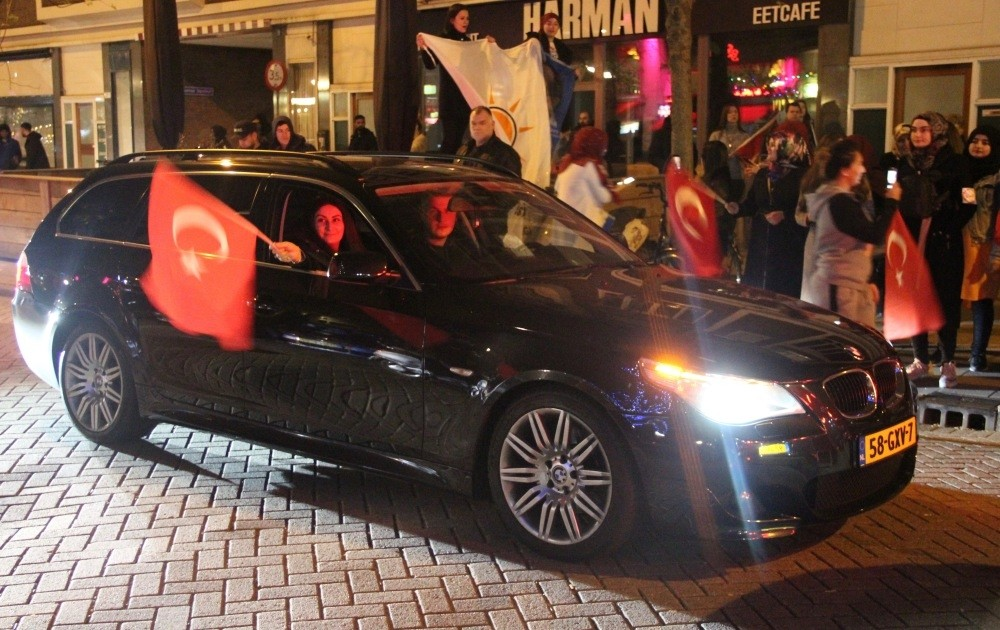Turkish citizens across many European cities went out to the streets in crowds to celebrate the victory for u2018yes' on Sunday's referendum.