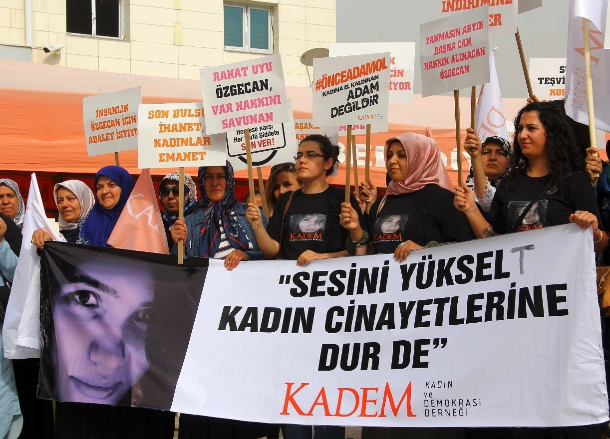 Activists hold a banner reading u201craise your voice, stop murder of womenu201d outside a courthouse where alleged killers of u00d6zgecan Aslan, a university student whose brutal murder became a symbol of outrage against violence towards women, were being tried