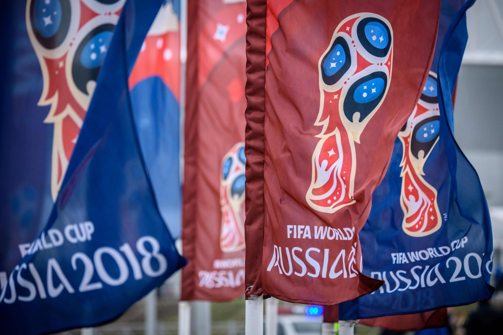 Flags featuring the logo of the FIFA World Cup 2018 are seen outside Rostov Arena in the southern Russian city of Rostov-on-Don, May 13.