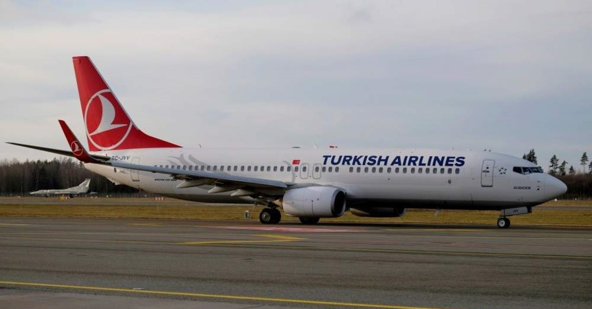 A Turkish Airlines Boeing 737-800 plane TC-JVV taxies to takeoff in Riga International Airport, Latvia, Jan. 17, 2020. (Reuters Photo)