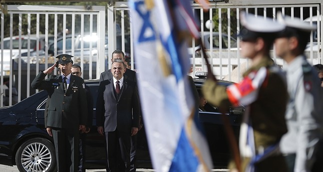 Turkish ambassador to Israel Kemal Ökem stands for the Turkish national anthem before presenting his diplomatic credentials to Israeli President (AFP Photo)