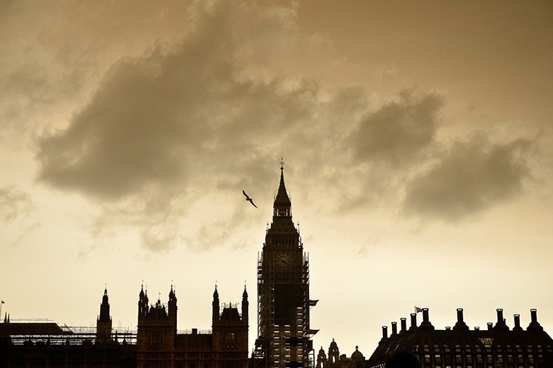 The sky over Westminster turns orange as storm Ophelia brings dust from the Sahara, filtering the light over London, Britain, October 16, 2017.