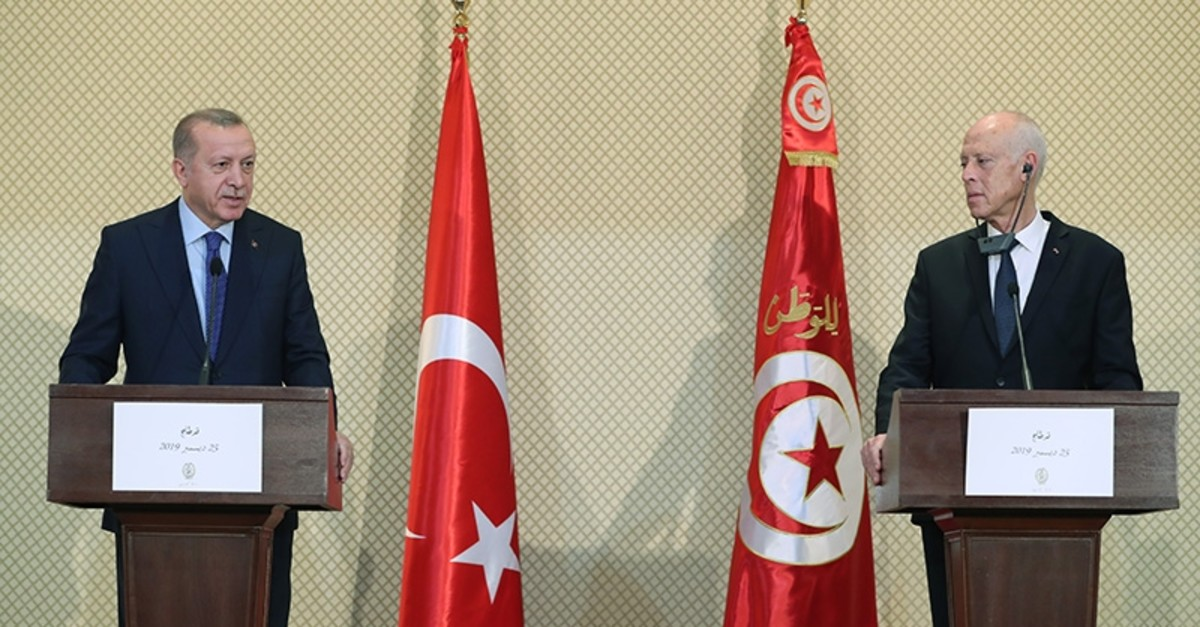 President Erdou011fan attends joint news conference with Tunisian counterpart Saied in Tunis on Wednesday, Dec. 25, 2019 (AA Photo)