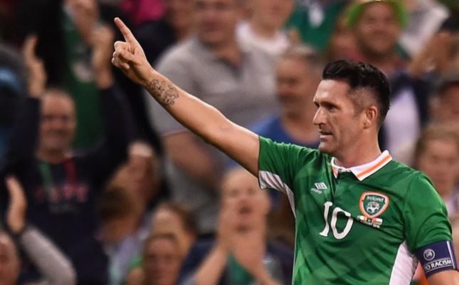 Ireland's Robbie Keane celebrates scoring their second goal in an international friendly match against Oman, at the Avia Stadium, Dublin, Aug. 31, 2016. (Reuters Photo)