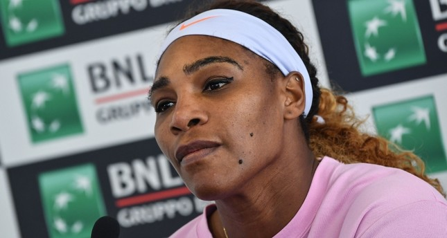 Serena Williams of the US looks on during a press conference, after winning her WTA Masters tournament tennis match against Sweden's Rebecca Peterson, at the Foro Italico in Rome, on May 13, 2019. (AFP Photo)