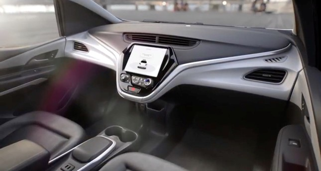 GM's planned Cruise AV driverless car features no steering wheel or pedals in a still image.