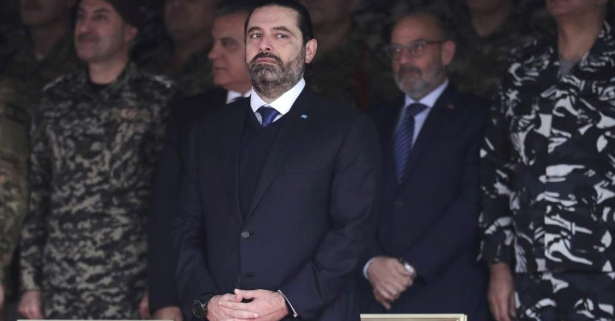 Former Prime Minister Saad Hariri attends a military parade, Yarzeh Nov. 22, 2019. (AP Photo)