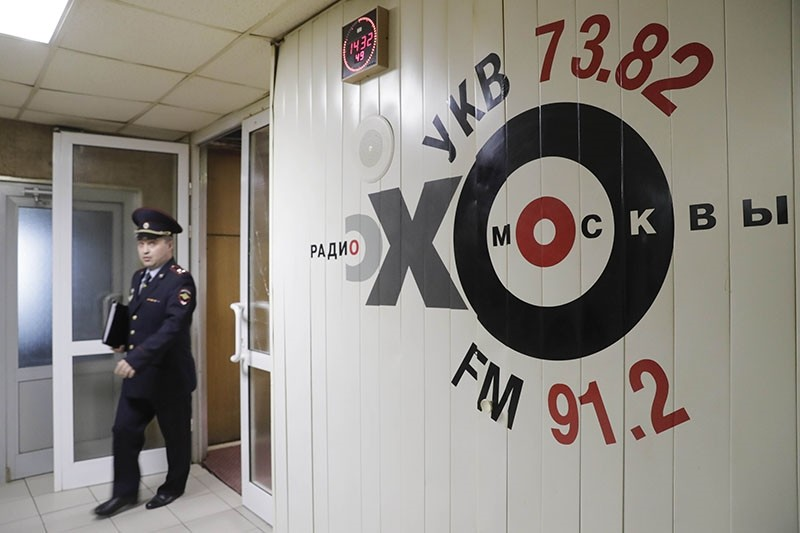 Inside the Russian radio station Ekho Moskvy, where an intruder attacked anchor Tatyana Felgengauer in Moscow (Reuters Photo)