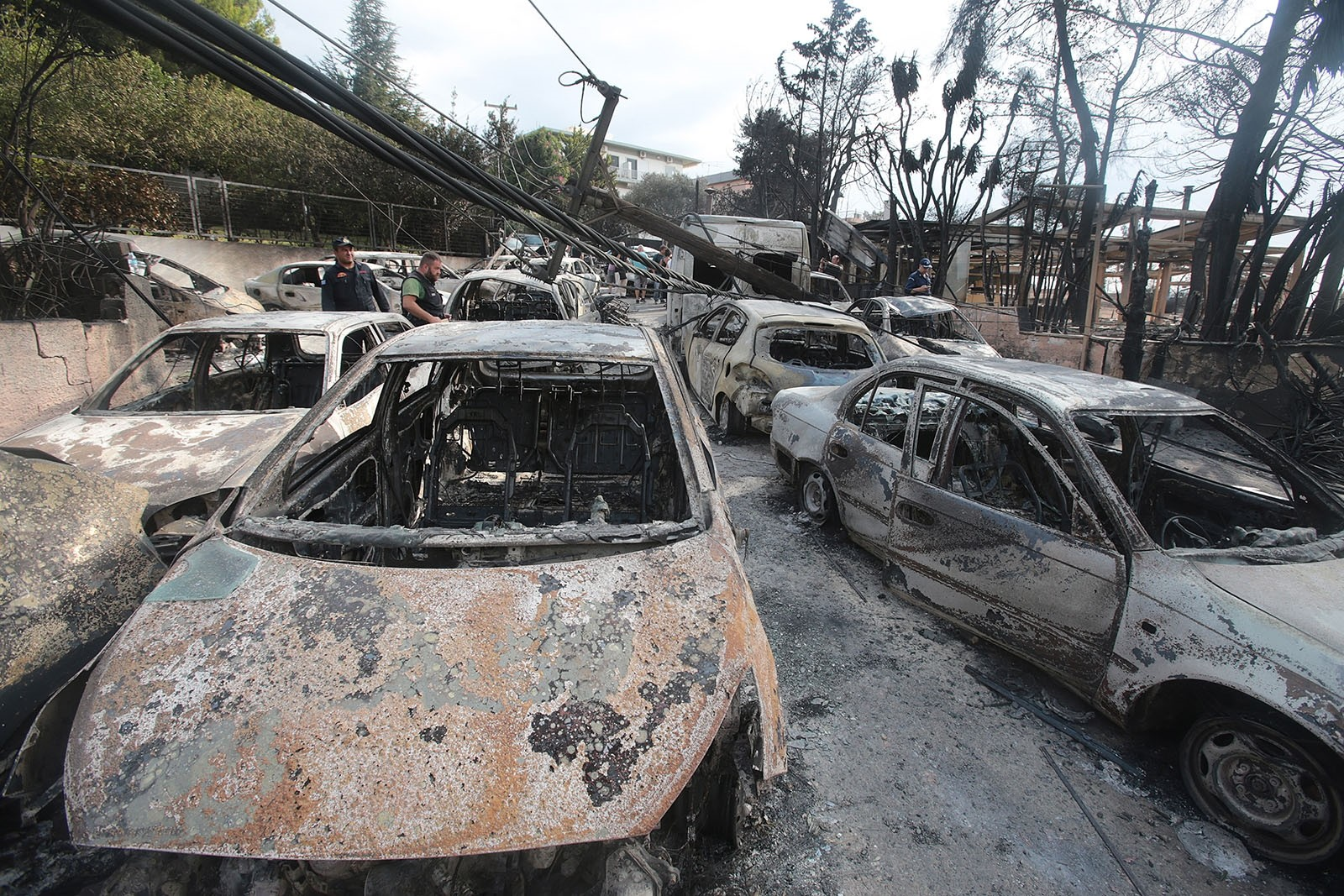 A view of burned cars after a fire in Argyra Akti, Mati, close to Nea Makri, in Attica, Greece, July 24, 2018.
