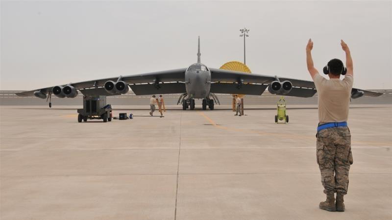 A US Air Force B-52 Stratofortress bomber arrives at Al Udeid Air Base, Qatar (Reuters File Photo)