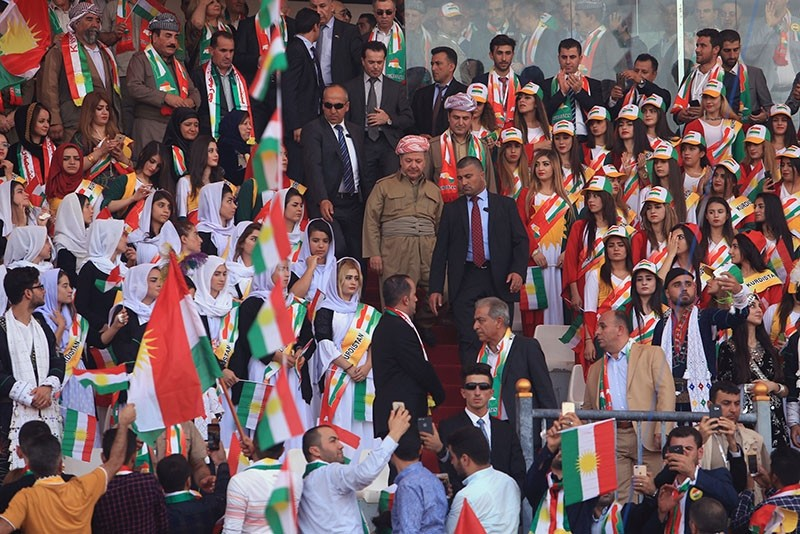 KRG leader Masoud Barzani attends a rally in support for the upcoming September 25th independence referendum in Zakho, Iraq September 14, 2017. (Reuters Photo)