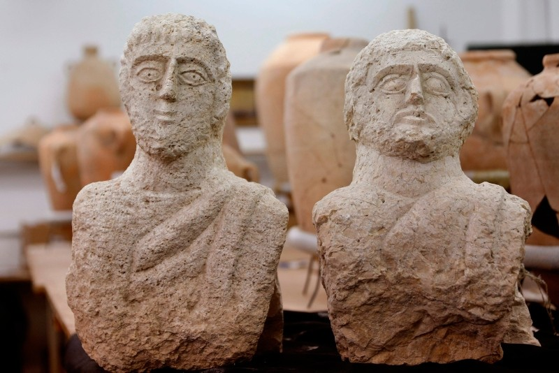 A picture taken at the Israel Antiquities Authority (IAA) laboratories in Jerusalem on December 30, 2018, shows a limestone busts that the IAA dated to the late Roman period (AFP Photo)