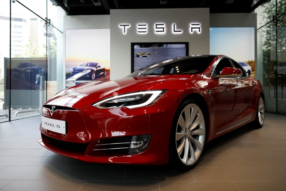 A Tesla Model S electric car is seen at its dealership in Seoul.