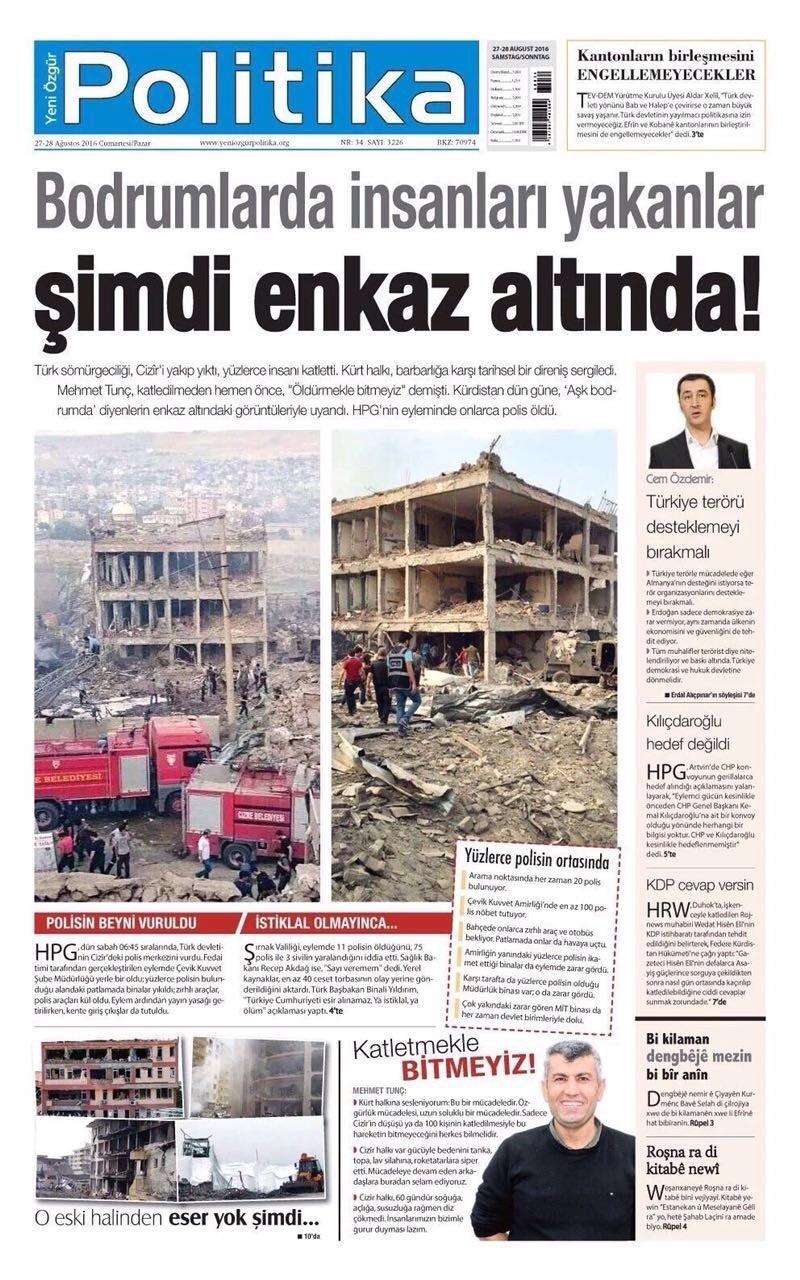 The front page of the pro-PKK Yeni Özgür Politika daily