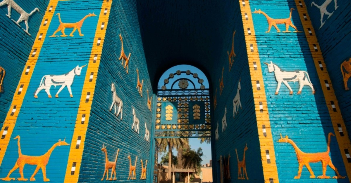 In this file photo taken on June 29, 2019, the Ishtar Gate at the ancient archaeological site of Babylon, south of the Iraqi capital Baghdad (AFP Photo)