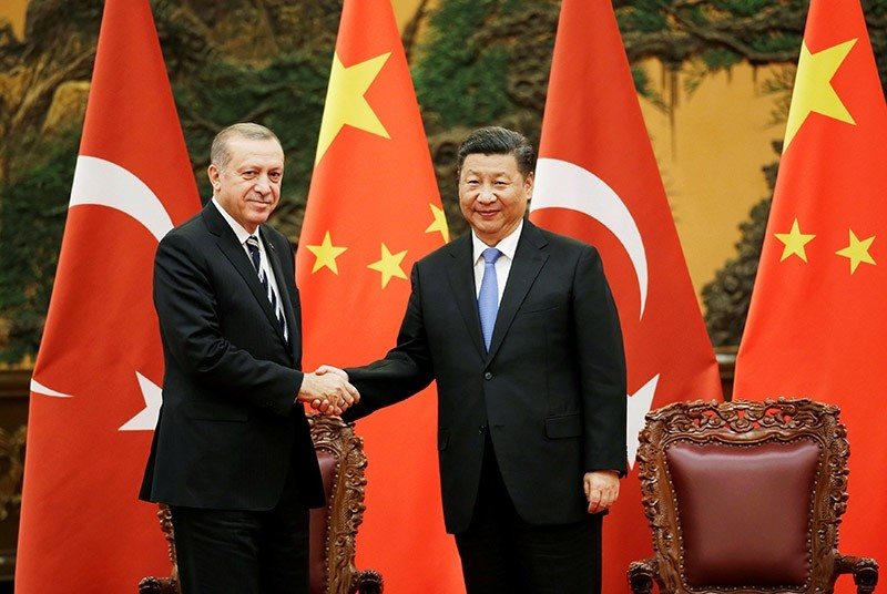 President Recep Tayyip Erdou011fan and his Chinese counterpart Xi Jinping attend a signing ceremony ahead of Belt and Road Forum in Beijing, China, May 13, 2017. (Reuters Photo)