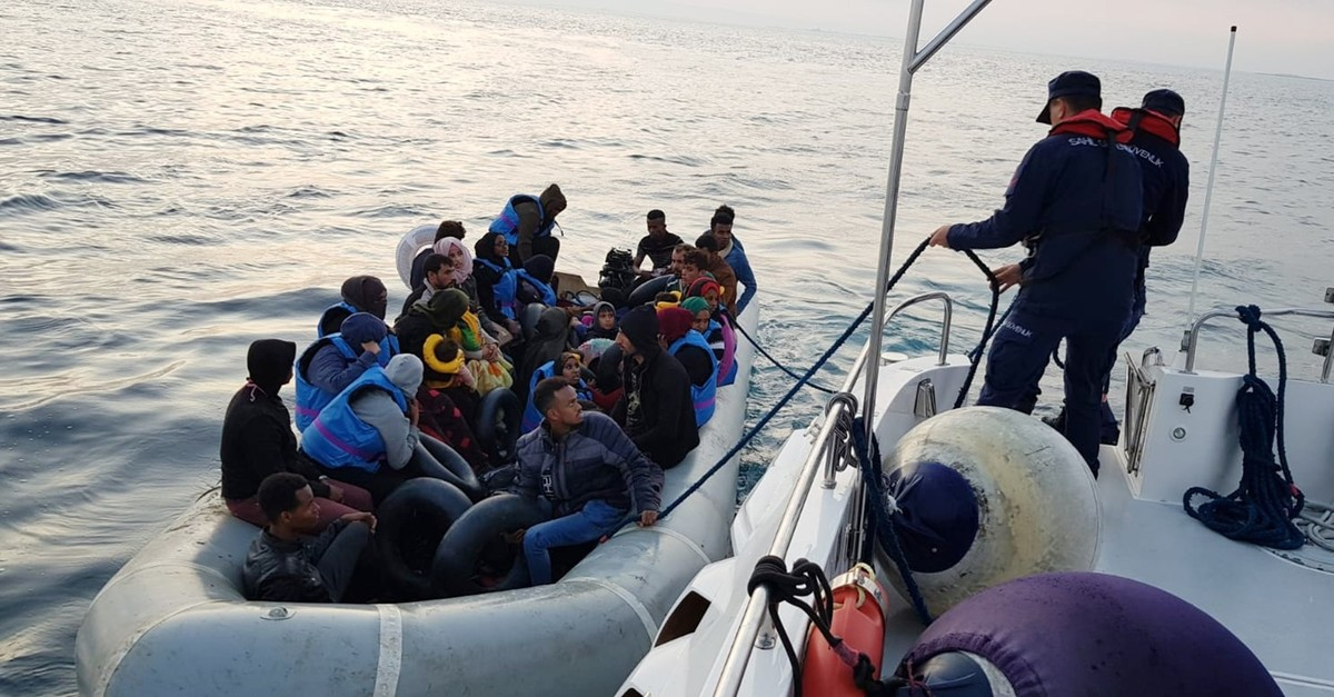 The Turkish Coast Guard intercepts 34 illegal migrants aboard a boat at the mouth of the Menderes River in western Turkey, Oct. 3, 2019.