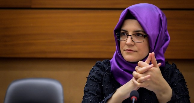 Turkish writer and fiancee of the murdered Saudi journalist Jamal Khashoggi Hatice Cengiz attends a side event during the United Nations Human Rights Council in Geneva on June 25, 2019. (AFP Photo)