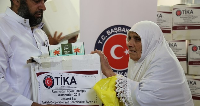 The photo shows TİKA food aid packages delivered to those in need in East Jarusalem on April 22.