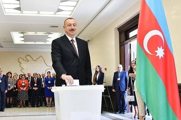 Re-elected incumbent Ilham Aliyev casts his vote in Azerbaijan's presidential election in Baku, Azerbaijan, April 11, 2018. (IHA Photo)