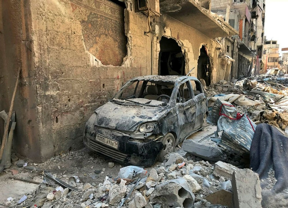Rubble lines a street in Douma, the site of a suspected chemical weapons attack, near Damascus, Syria, April 16.