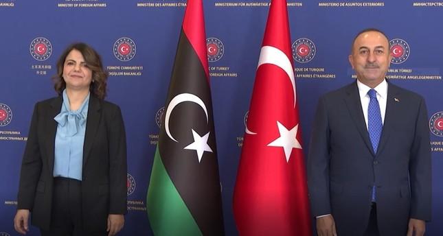 مولود تشاووش أوغلو مستقبلا نظيرته الليبية نجلاء المنقوش في أنقرة DHA