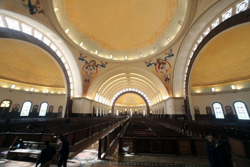 A general view inside the newly-constructed Nativity of the Christ Cathedral at the new administrative capital, 45km east of Cairo, Egypt, 03 January 2019 (Reuters Photo)