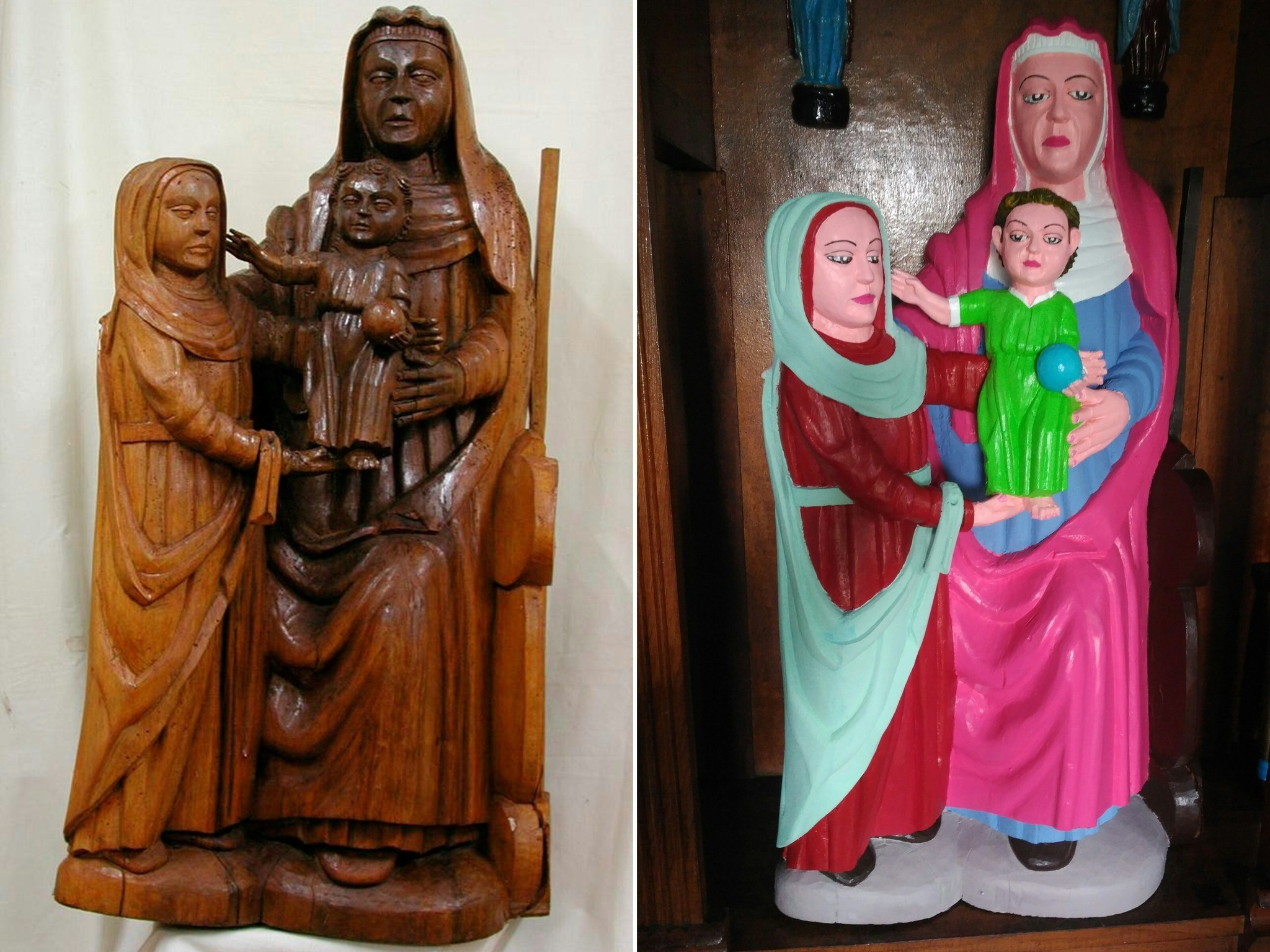 This combination of pictures created on September 07, 2018 shows a Romanesque period statue depicting Virgin Mary before and after being ,restored, by a local woman of the village of El Ranadoiro. (AFP Photo)