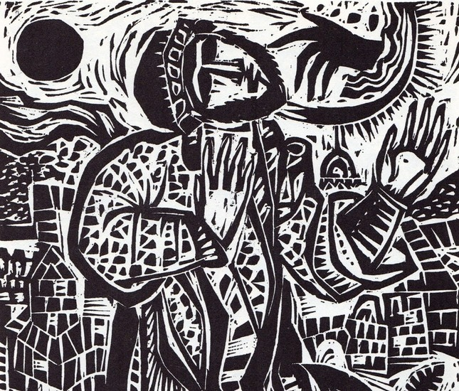 Nicholas Stavroulakis, Woodcut from the Book of the Jeremiah.