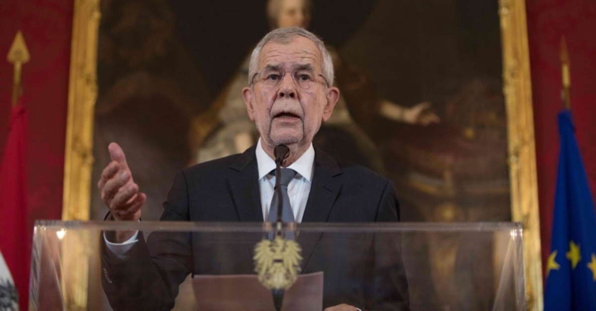 Austria's President Alexander Van der Bellen attends a press conference on May 18, 2019 in Vienna. (AFP Photo)