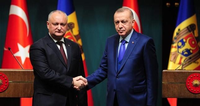 President Recep Tayyip Erdo?an and his Moldovan counterpart Igor Dodon hold a joint news conference in the Turkish capital Ankara on Dec. 30, 2019. IHA Photo