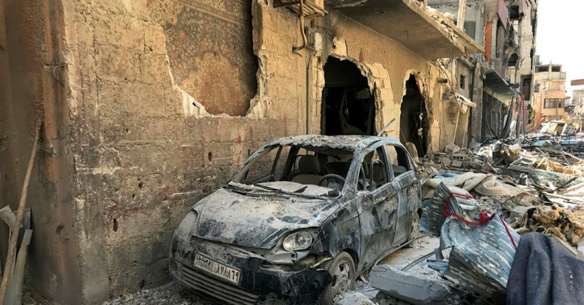 The site of a chemical weapon attack by the Bashar Assad regime near Damascus in Syria, April 16, 2018.