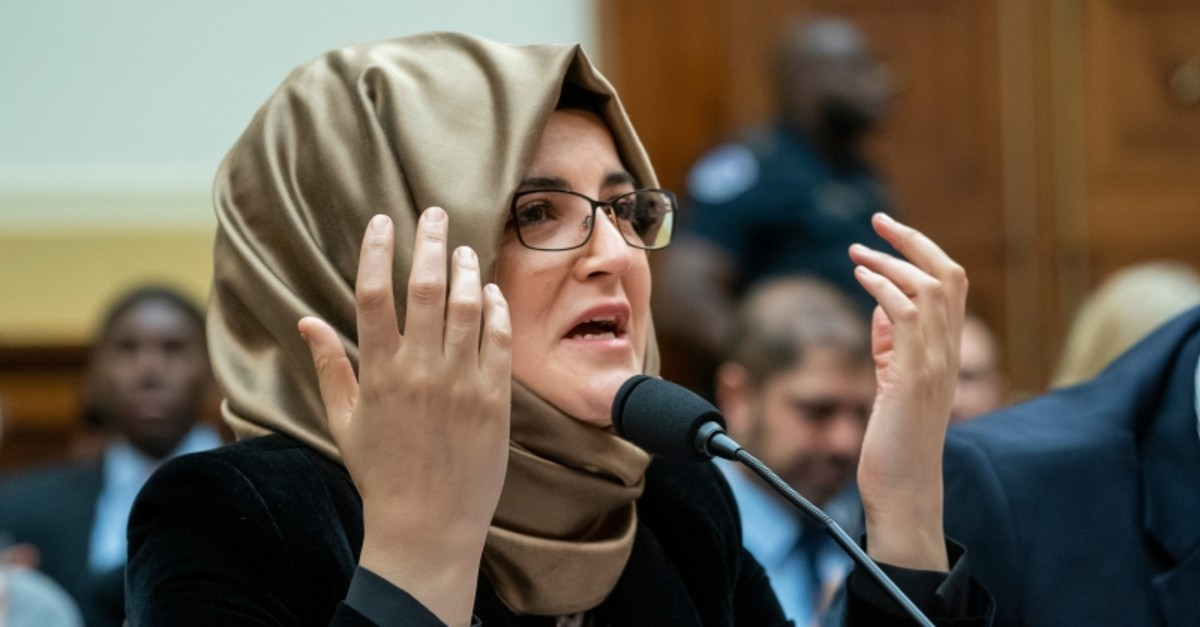 Hatice Cengiz, the fiancu00e9e of slain journalist Jamal Khashoggi, speaks at the House Foreign Affairs Subcommittee on Africa, Global Health, Global Human Rights, and International Organizations (AP Photo)