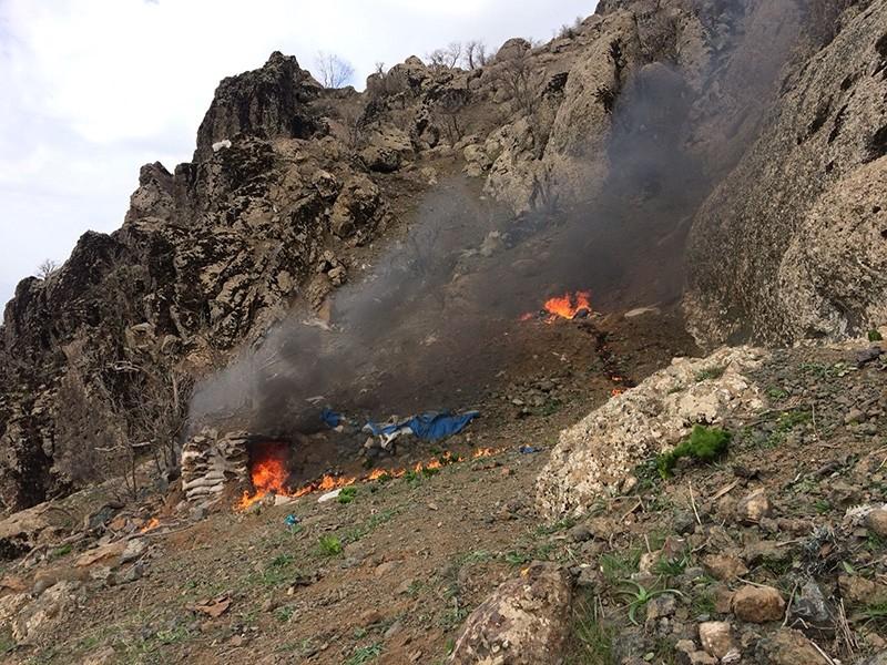 Photo taken March 21, 2018, as Turkish jets destroy PKK targets in northern Iraq. (AA Photo)