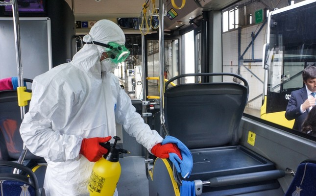 Istanbul's public transportation buses are cleaned and disinfected by trained cleaners every day.