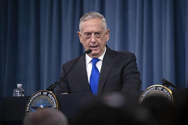 In this file photo taken on August 28, 2018, US Defense Secretary Jim Mattis holds a press conference at the Pentagon in Washington, D.C. (AFP Photo)