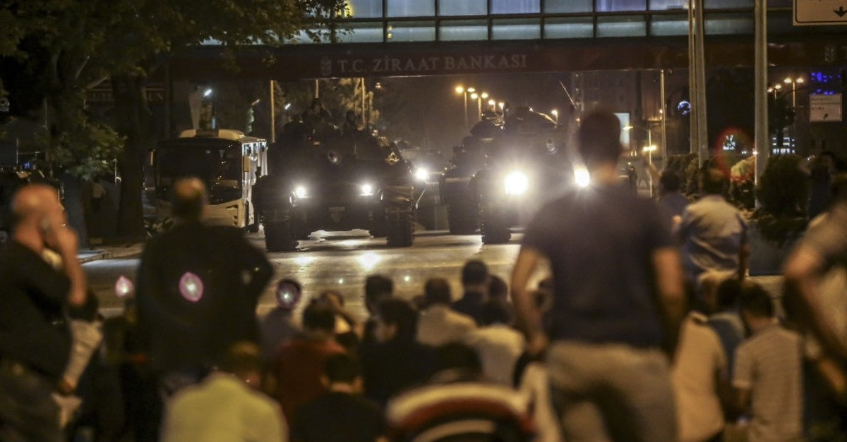 People stage a sit-in to confront the tanks controlled by putschists in Ankara, July 15, 2016. Military officers based in Diyarbaku0131r were accused of dispatching warplanes to Ankara to help putschists.